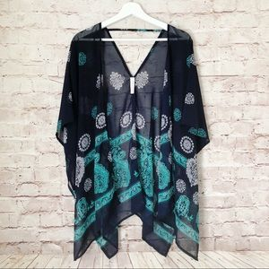 BOUTIQUE   navy printed kimono boho blouse M